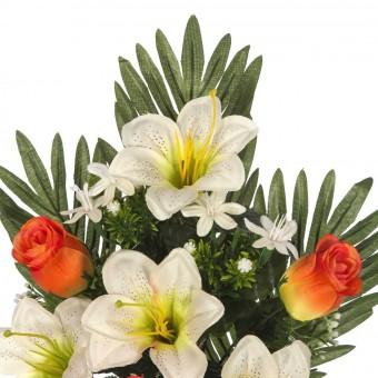 Ramo flores artificiales lilys y rosas naranja 43 · Ramos cementerio flores artificiales 2