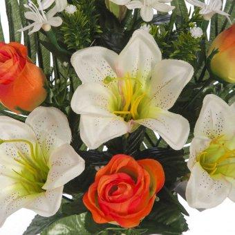 Ramo flores artificiales lilys y rosas naranja 43 · Ramos cementerio flores artificiales 3