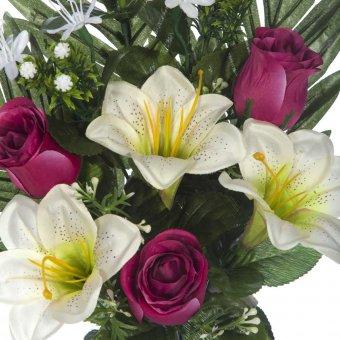 Ramo flores artificiales lilys y rosas burdeos 43 · Ramos cementerio flores artificiales 3