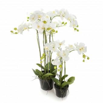 Planta orquídeas artificiales blancas 60 con maceta · Plantas artificiales con flores 5