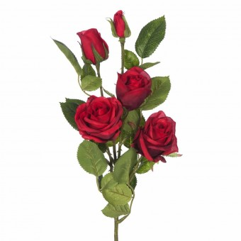 Rama rosa artificial roja 70 · Flores artificiales