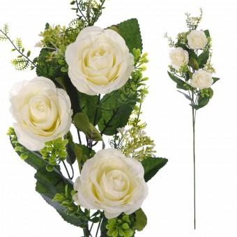 Rama rosas artificiales blancas - Flores artificiales 3