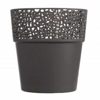 Maceta plástico cenefa gris oscuro 13.5 · Macetas y jardín 2