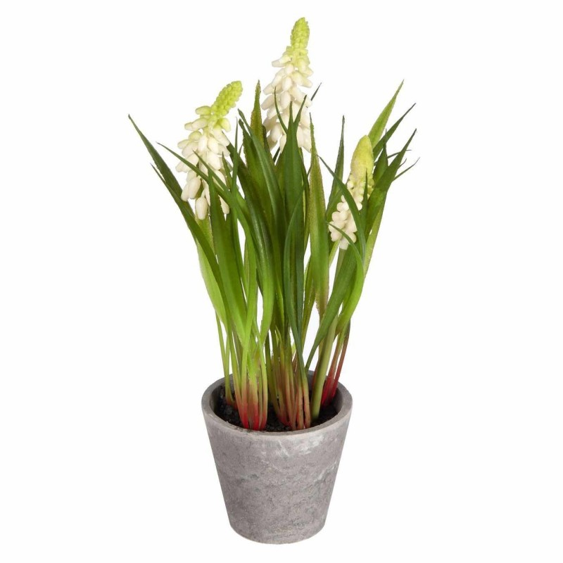Planta muscaris artificiales mini blanca con maceta · Plantas artificiales con flores