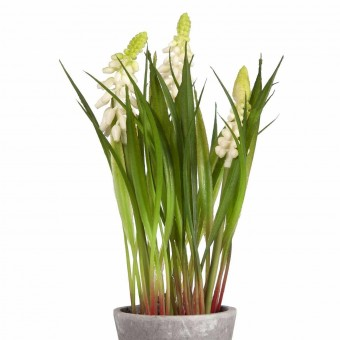 Planta muscaris artificiales mini blanca con maceta · Plantas artificiales con flores 2