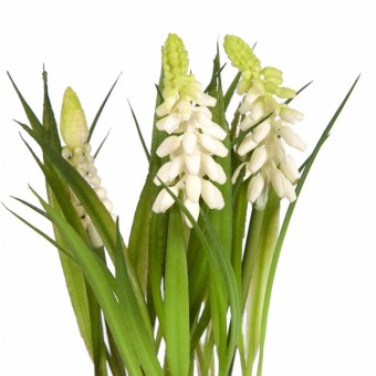 Planta muscaris artificiales mini blanca con maceta · Plantas artificiales con flores 3