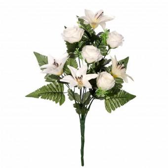 Ramo flores artificiales azucenas y rosas blancas 45 · Ramos flores artificiales 4