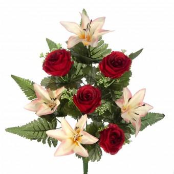 Ramo flores artificiales azucenas bicolor y rosas rojas 45 · Ramos cementerio flores artificiales
