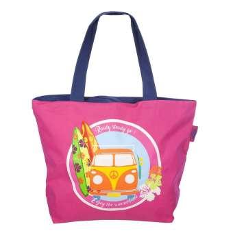 Bolsas de playa - Bolsa playa furgo cremallera rosa