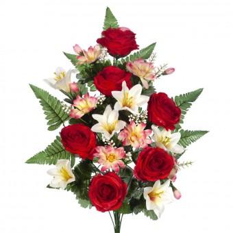 Ramo cementerio flores artificiales - Ramo rosas artificiales rojas, margaritas y lilys bicolor