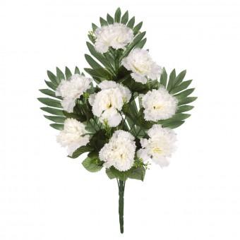 Ramo cementerio flores artificiales - Ramo claveles artificiales blancos 45 4