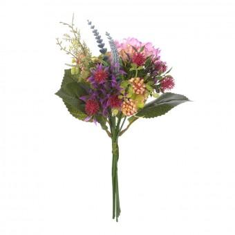 Ramos flores artificiales - Ramo hortensia artificial rosada con flores silvestres 4