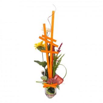 Funerario - Jardineras y centros artificiales - Arreglo floral maceta artificial crisantemos naranja 4