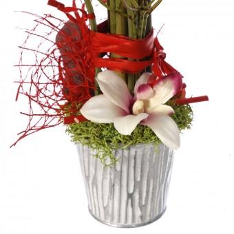Funerario - Jardineras y centros artificiales -  Arreglo floral maceta artificial rosas rojas 3
