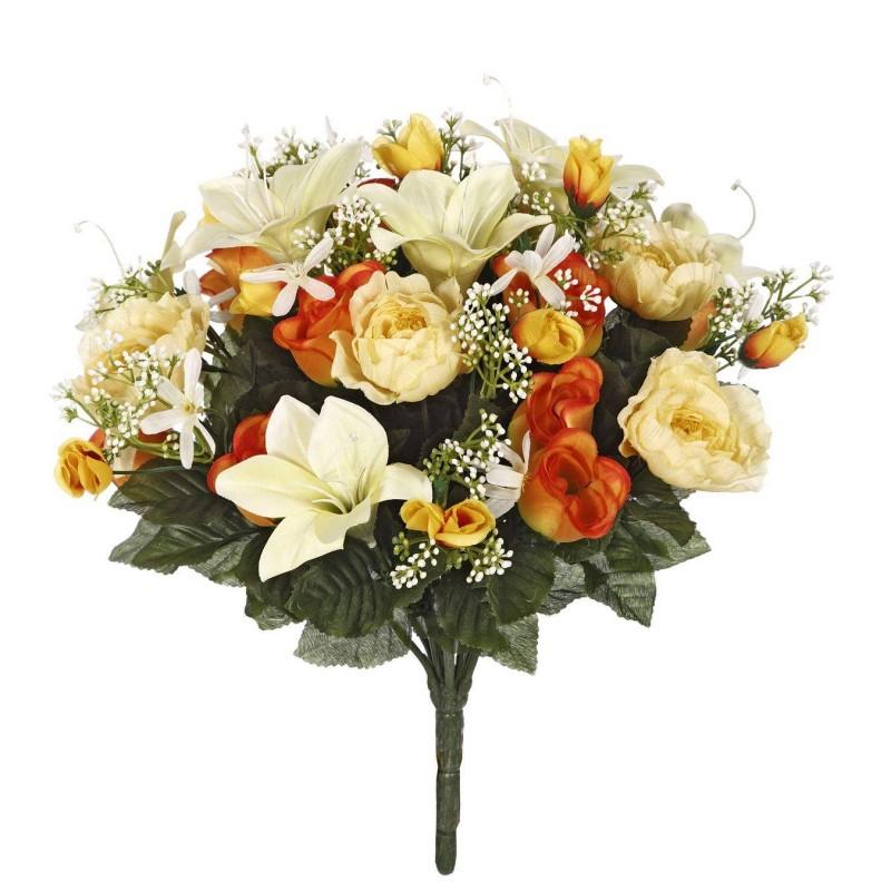 Ramo rosas, ranúnculos y liliums artificiales naranja - Ramos flores artificiales