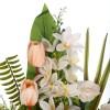 Jardinera rosas artificiales blancas con tulipanes salmón - Funerario - Jardineras y centros artificiales 4