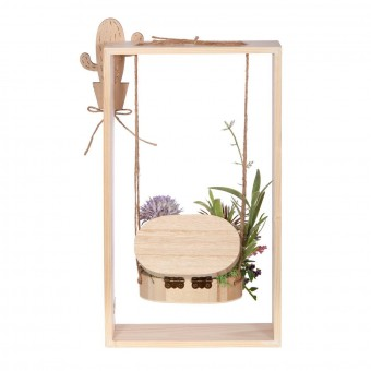 Arreglo floral plantas crasas artificiales columpio rectangular ánfora - Arreglos florales artificiales 5