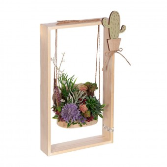 Arreglo floral plantas crasas artificiales columpio rectangular lavanda - Arreglos florales artificiales 3