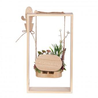 Arreglo floral plantas crasas artificiales columpio rectangular lavanda - Arreglos florales artificiales 5