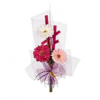 Ramo artificial gerbera blanca rosa cereza - Funerario - Jardineras y centros artificiales