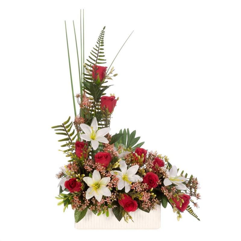 Jardinera rosas artificiales rojas liliums blancos - Funerario - Jardineras y centros artificiales