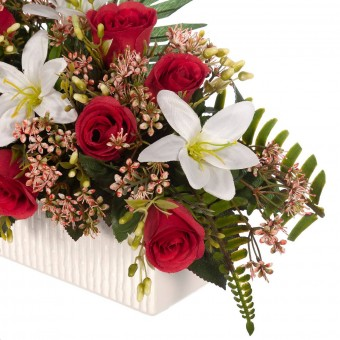 Jardinera rosas artificiales rojas liliums blancos - Funerario - Jardineras y centros artificiales 3