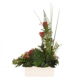 Jardinera rosas artificiales rojas liliums blancos - Funerario - Jardineras y centros artificiales 5