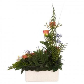 Jardinera rosas artificiales naranjas liliums blancos - Funerario - Jardineras y centros  5