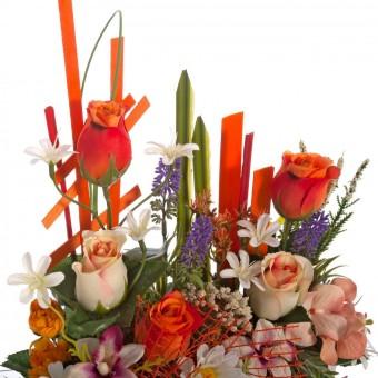Jardinera rosas artificiales naranja y bicolor - Funerario - Jardineras y centros artificiales 4