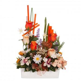 Jardinera rosas artificiales naranja y bicolor 40 - Funerario - jardineras y centros artificiales
