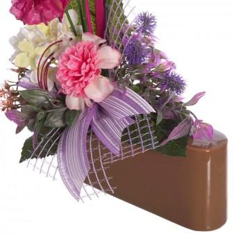 Jardinera flores artificiales scabiosas rosadas - Funerario - Jardineras y centros artificiales 3