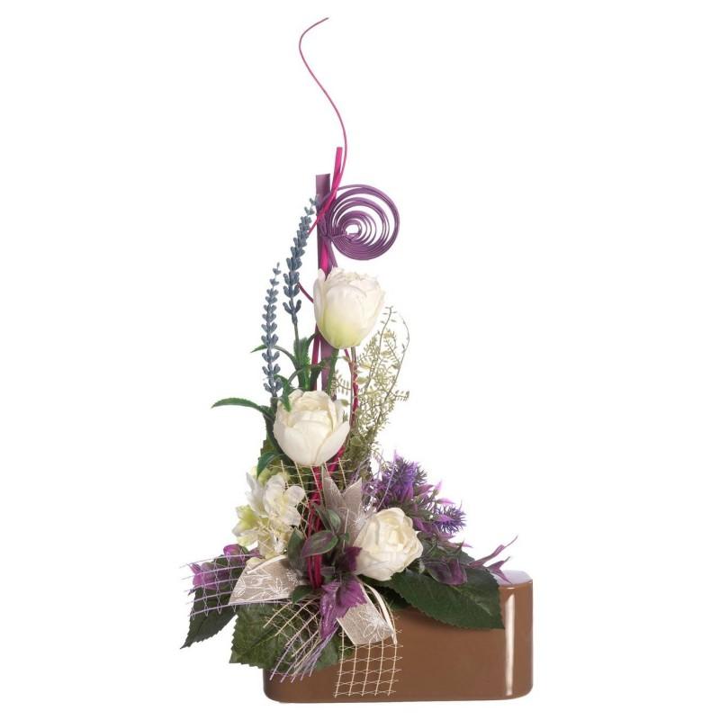 Jardinera flores artificiales tulipanes blancos - Funerario - Jardineras y centros artificiales