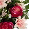 Ramo rosas artificiales burdeos y dalias bicolor - Funerario - Ramos flores artificiales 3