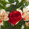 Ramo rosas artificiales rojas y dalias bicolor - Funerario - Ramos flores artificiales 3