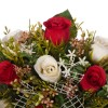 Jardinera cerámica flores rosas artificiales blancas y rojas 30001 · Jardineras y centros flores artificiales cementerio 4