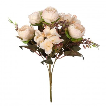 Ramo peonías artificiales crema con hortensias blancas - Ramos flores artificiales