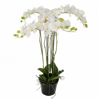 Orquídeas artificiales blancas 95 con maceta · Flores artificiales