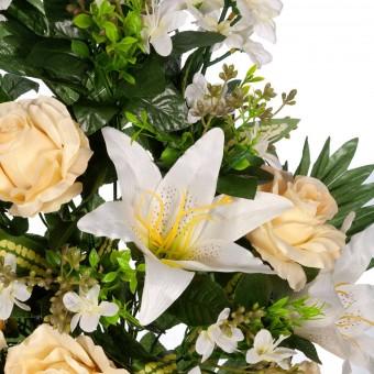 Ramo rosas artificiales amarillas y liliums blancos · Funerario · Ramos flores artificiales 3 · La Llimona home