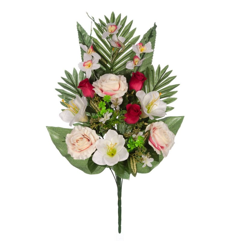 Ramo rosas artificiales bicolor y gladiolos blancos · Funerario · Ramos flores artificiales · La Llimona home