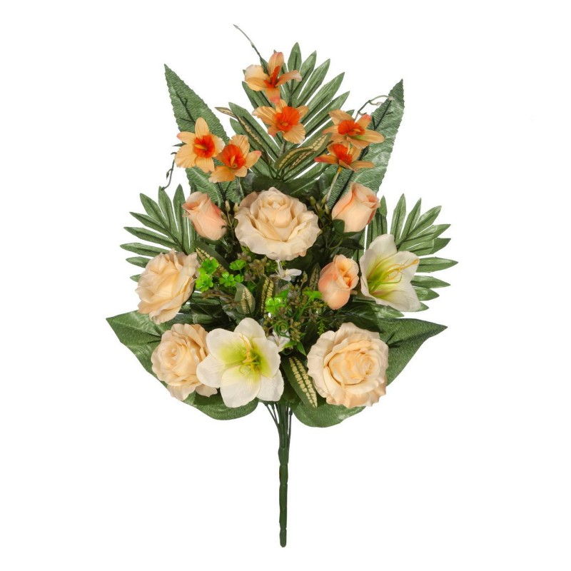 Ramo rosas artificiales salmón y gladiolos crema - Funerario - Ramos flores artificiales