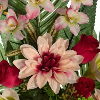 Ramo dalias artificiales bicolor y gladiolos crema - Funerario - Ramos flores artificiales 2