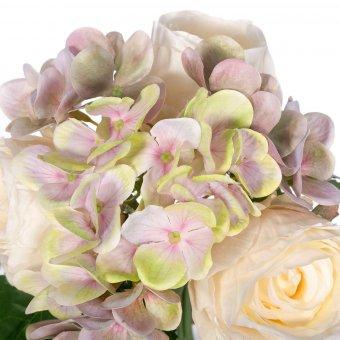 Ramo rosas y hortensias artificiales crema 28 - Flores artificiales - Ramos flores artificiales 2