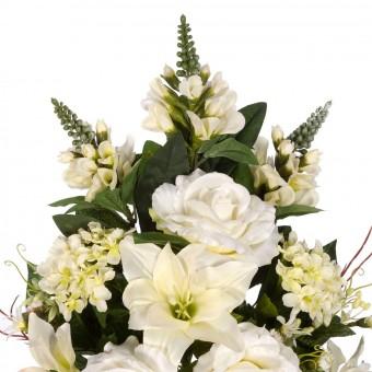 Ramo rosas y azucenas artificiales crema - Funerario - Ramos flores artificiales 4