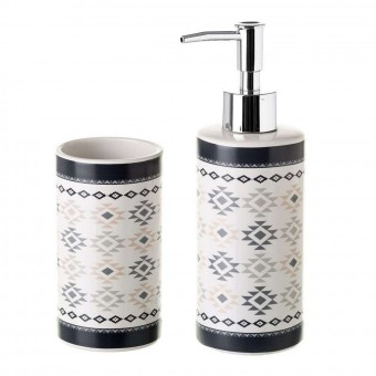 Set baño dosificador y vaso cerámica boho - Dosificadores de baño