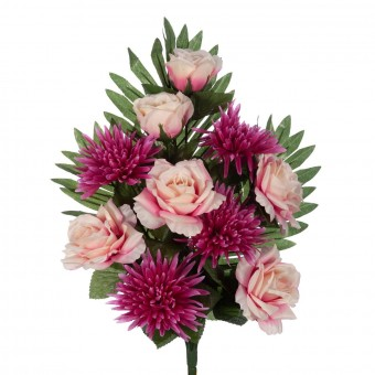 Flores artificiales · Funerario · Ramos flores artificiales · Ramo rosas artificiales rosadas y crisantemos fucsia 2 · La Llimon