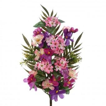 Flores artificiales - Funerario - Ramos flores artificiales - Ramo cosmos artificiales lilas y phlox rosadas 2