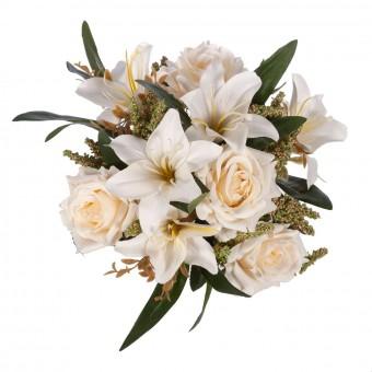 Ramo rosas artificiales crema y liliums · Flores artificiales · Ramos flores artificiales 3 · La Llimona home