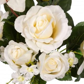 Ramo rosas artificiales blancas y orquídeas blancas - Flores artificiales - Funerario - Ramos flores artificiales 3