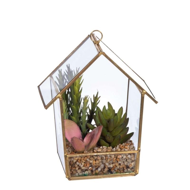 Invernadero casa pequeña plantas crasas artificiales · Flores artificiales · Arreglos florales artificiales · La Llimona home