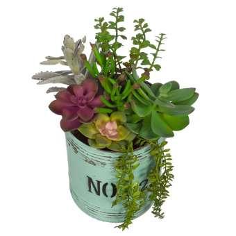 Maceta metal plantas crasas artificiales 30 · Flores artificiales · Arreglos florales artificiales 4 · La Llimona home